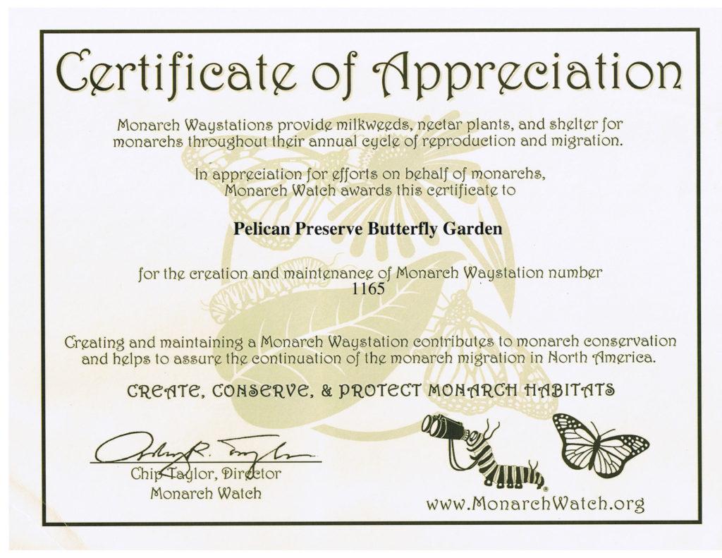 Butterfly Garden Waystation Certificate